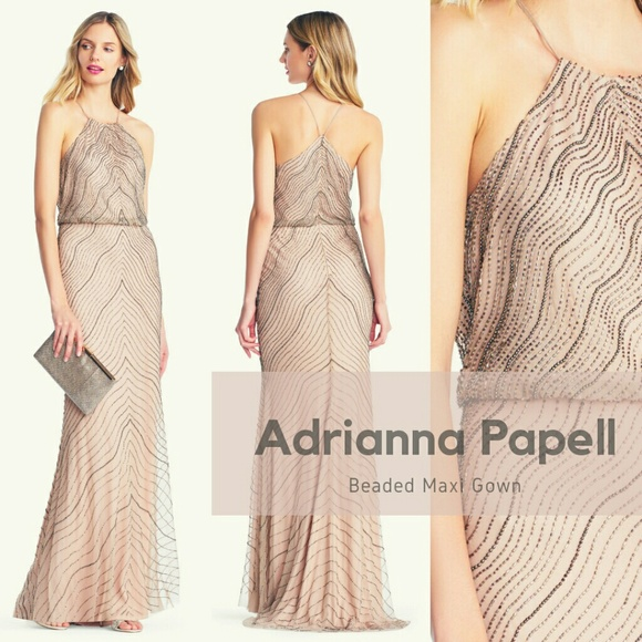 481f0c9c Adrianna Papell Dresses | Beaded Halter Maxi Dress | Poshmark